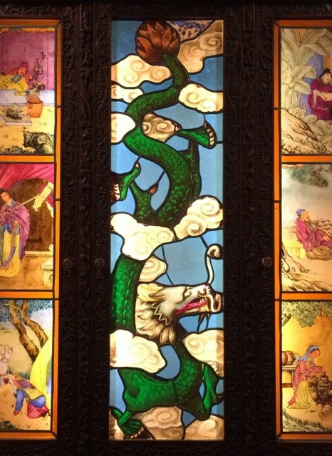 Stained glass panels from a cabinet produced for export on display at the T'ou-Se-We Museum