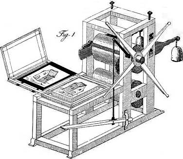 Alois Senefelder's original design for a lithographic press (From The Invention Of Lithography, 1818, translated into English in 1911)